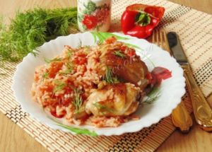 Курица с рисом в томате
