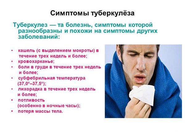 Какие симптомы и признаки при туберкулезе легких у взрослых являются типичными?