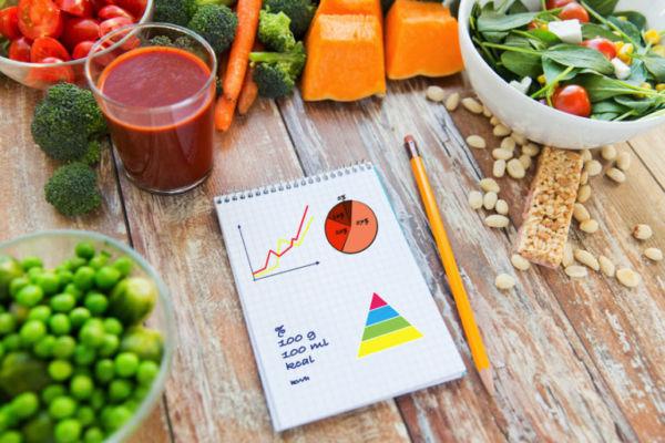 Продукты питания и блокнот